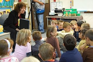 Photo of Irene teaching Kidpower in an elementary classroom