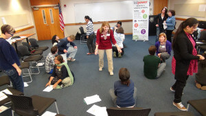 Participants pair up to rehearse turing a problem into a successful boundary practice.