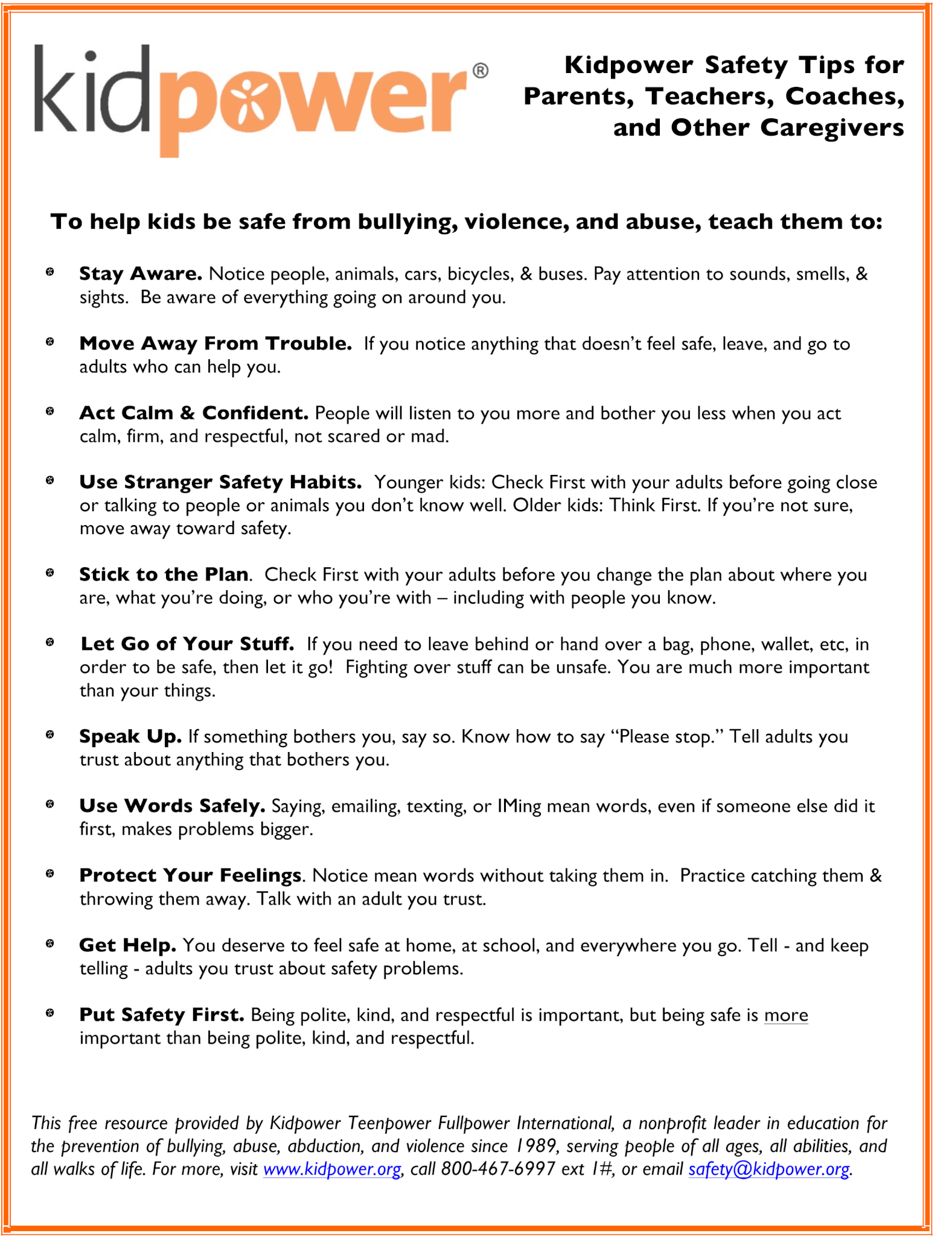 Kidpower Safety Tips for Parents, Teachers, Coaches, and Other Caregivers