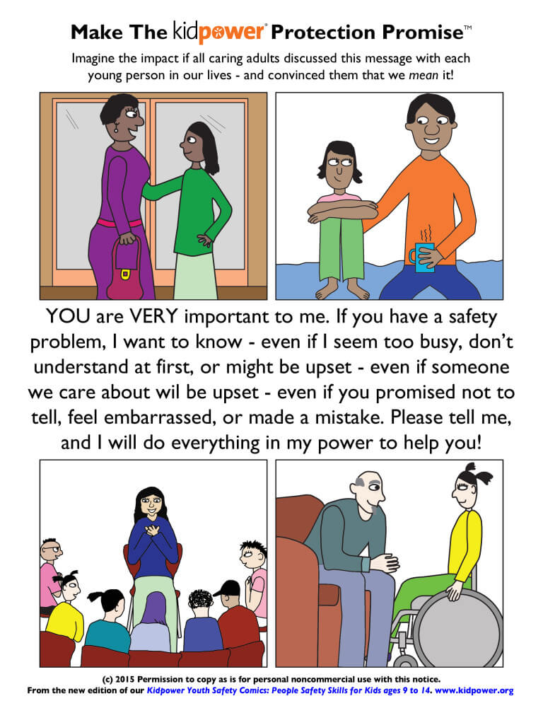 Kidpower Protection Promise Youth Comic