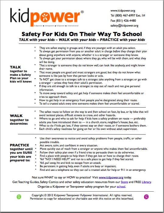 Kidpower's Safety on the Way to School Guidelines