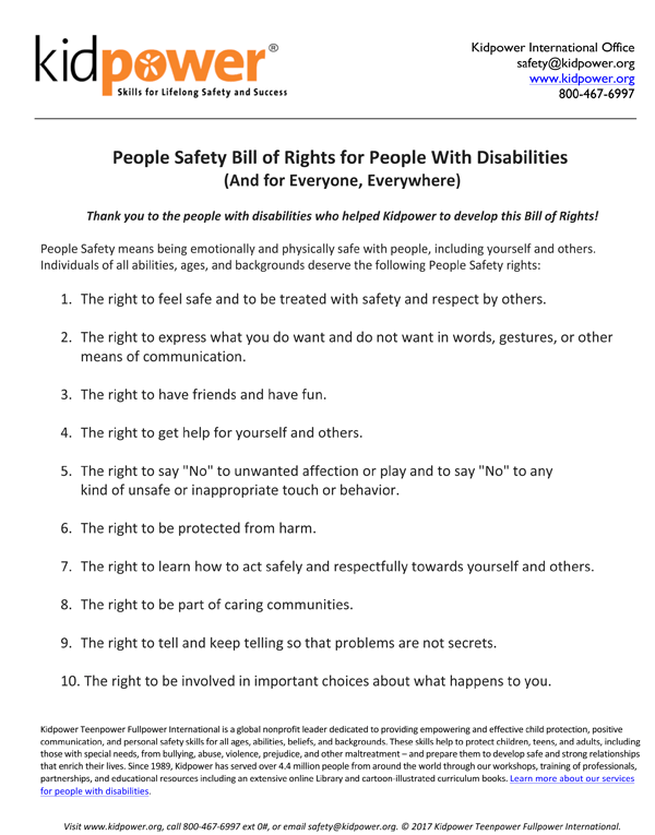 Kidpower's 'People Safety' Bill of Rights for People with Disabilities