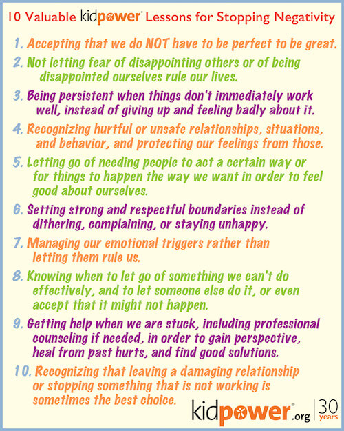 Download the Poster! 10 Kidpower Lessons for Stopping Negativity