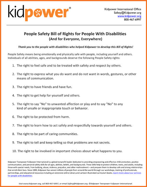 People Safety Bill of Rights for People with Disabilities and for Everyone, Everywhere | Kidpower International