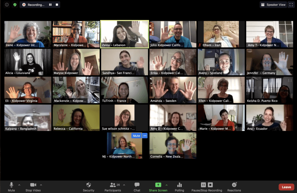 online institute participants waving on Zoom