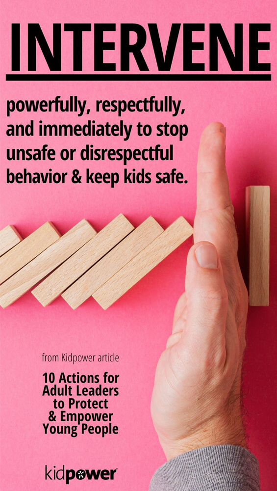 Hand stopping blocks from falling with intervention quote on top of image.