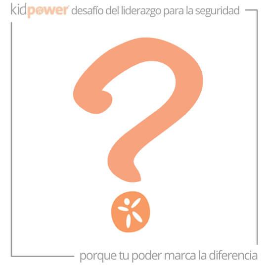 Signo de interrogación naranja con el logo de la semilla de Kidpower. #KidpowerDLS