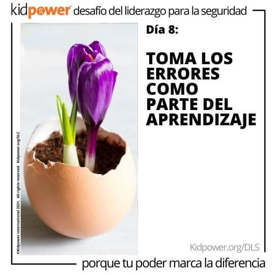 Tulipán púrpura que florece fuera de la cáscara de huevo. Texto: Día 8: Toma los errores como parte del aprendizaje #KidpowerDLS