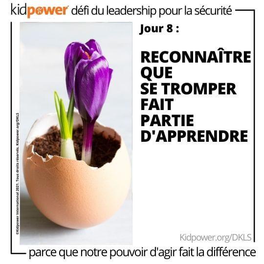 Tulipe violette qui fleurit hors de la coquille d'œuf. Texte: jour 8: Reconnaître que se tromper fait partie d'apprendre #KidpowerDKLS