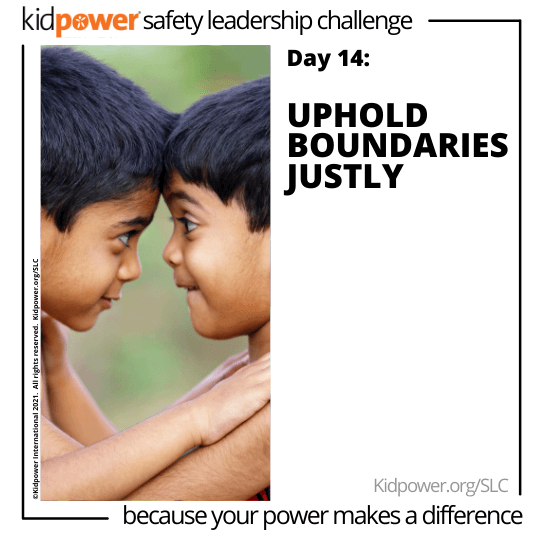 Young boys stand face to face, heads touching. Text: Day 14: Uphold Boundaries Justly #KidpowerSLC