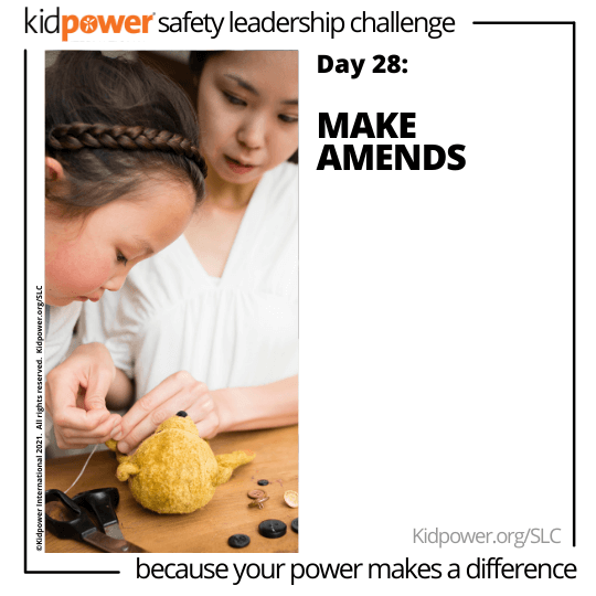 Mother helping daughter sew stuffed animal. Text: Day 28: Make Amends #KidpowerSLC