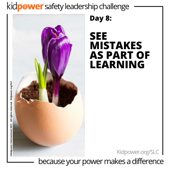 Purple tulip blooming out of eggshell. Text: Day 8: See Mistakes as a part of Learning #KidpowerSLC
