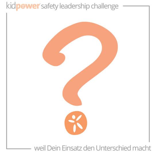 Orange Fragezeichen mit Kidpower-Samenlogo. #KidpowerSLCGR