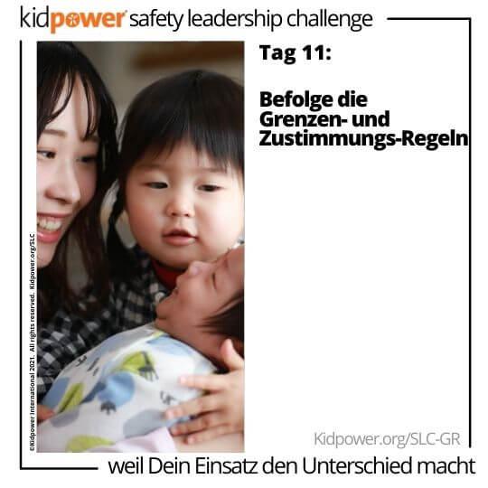 Junge Frau und kleines Mädchen halten Baby. Text: Tag 11: Befolge die Grenzen- und Zustimmungs-Regeln #KidpowerSLCGR