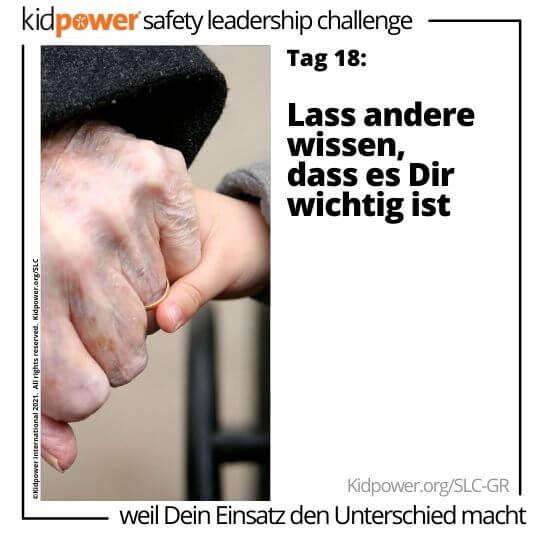 Händchenhaltende Kinder und Senioren. Text: Tag 18: Lass andere wissen, dass es Dir wichtig ist #KidpowerSLCGR