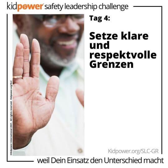 Erwachsener Mann, der Stopphand im Fokus hält. Text: Tag 4: Setze klare und respektvolle Grenzen #KidpowerSLCGR