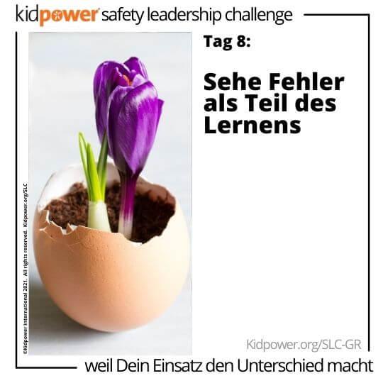 Lila Tulpe, die aus Eierschale blüht. Text: Tag 8: Sehe Fehler als Teil des Lernens #KidpowerSLCGR