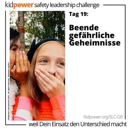 Kleines Mädchen flüstert in das Ohr eines Freundes. Text: Tag 19: Beende gefährliche Geheimnisse #KidpowerSLCGR