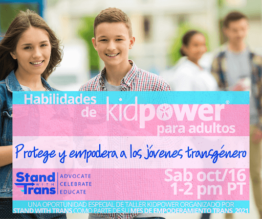 two teen students smiling and transgender flag in front with title of workshop